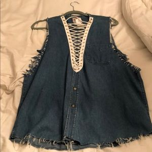Denim oversized tank top
